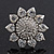 Rhodium Plated Diamante Sunflower Cocktail Ring - Size 7/8 Adjustable - view 5
