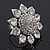 Rhodium Plated Diamante Sunflower Cocktail Ring - Size 7/8 Adjustable - view 4
