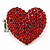 Rhodium Plated Swarovski Crystal Paved 'Be Mine' Heart Shaped Cocktail Stretch Ring - 3cm Length - Adjustable Size 7/8 - view 9