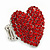 Rhodium Plated Swarovski Crystal Paved 'Be Mine' Heart Shaped Cocktail Stretch Ring - 3cm Length - Adjustable Size 7/8 - view 8
