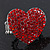 Rhodium Plated Swarovski Crystal Paved 'Be Mine' Heart Shaped Cocktail Stretch Ring - 3cm Length - Adjustable Size 7/8 - view 6