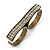 Vintage Pave-Set 'Plate' Two Finger Ring In Bronze Tone Metal - Adjustable - 35mm Width - view 4