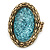 Statement Light Blue Glitter, Oval, Mesh Flex Ring In Burnt Gold Tone - 43mm Across - Size7/8