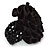 Black Silk & Glass Bead Floral Flex Ring - 40mm Diameter - view 4