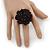 Black Silk & Glass Bead Floral Flex Ring - 40mm Diameter - view 2