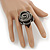 Large Black Zipper Fabric Rose Ring With Silver Tone Wire Band - 45mm Diameter - 7/8 Adjustable - view 2