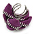 Large Purple Zipper Fabric Rose Ring With Silver Tone Wire Band - 45mm Diameter - 7/8 Adjustable - view 4