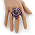 Large Purple Zipper Fabric Rose Ring With Silver Tone Wire Band - 45mm Diameter - 7/8 Adjustable - view 3