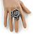 Large Grey Zipper Fabric Rose Ring With Silver Tone Wire Band - 45mm Diameter - 7/8 Adjustable - view 2
