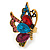 Multicoloured Crystal Butterfly Ring In Antique Gold Metal - Adjustable - Size 7/8 - view 7