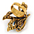 Multicoloured Crystal Butterfly Ring In Antique Gold Metal - Adjustable - Size 7/8 - view 3