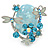Exquisite Light Blue Flower And Butterfly Cocktail Ring In Rhodium Plating - Adjustable size 7/8 - view 5