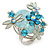 Exquisite Light Blue Flower And Butterfly Cocktail Ring In Rhodium Plating - Adjustable size 7/8