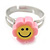 Children's/ Teen's / Kid's Deep Pink, Yellow Fimo Flower Ring In Silver Tone - Adjustable - view 2