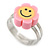 Children's/ Teen's / Kid's Deep Pink, Yellow Fimo Flower Ring In Silver Tone - Adjustable - view 4