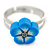 Children's/ Teen's / Kid's Blue Fimo Flower Ring In Silver Tone - Adjustable - view 2
