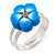 Children's/ Teen's / Kid's Blue Fimo Flower Ring In Silver Tone - Adjustable - view 4