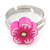 Children's/ Teen's / Kid's Pink Fimo Flower Ring In Silver Tone - Adjustable - view 2