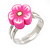 Children's/ Teen's / Kid's Pink Fimo Flower Ring In Silver Tone - Adjustable - view 4