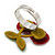 Burgundy Red/ Green Acrylic Double Cherry With Leaves Ring In Silver Tone - Adjustable - Size 7/8 - view 3