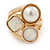 Chunky Pearl Bead Wide Band Flex Ring In Gold Tone - Size 7/8 - Adjustable