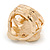 Chunky Pearl Bead Wide Band Flex Ring In Gold Tone - Size 7/8 - Adjustable - view 3
