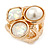 Chunky Pearl Bead Wide Band Flex Ring In Gold Tone - Size 7/8 - Adjustable - view 6