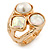 Chunky Pearl Bead Wide Band Flex Ring In Gold Tone - Size 7/8 - Adjustable - view 4
