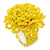 Yellow Glass Bead Flower Stretch Ring - 40mm Diameter