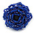 Blue Glass Bead Flower Stretch Ring - 40mm Diameter - view 6
