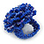 Blue Glass Bead Flower Stretch Ring - 40mm Diameter - view 4