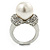 14mm White Glass Pearl, Crystal Ring In Rhodium Plating - Size 8 - view 5