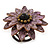 Lavender Leather Layered With Glass Bead Daisy Flower Wire Band Ring - Adjustable - 40mm D - view 5