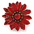 Red Leather Layered With Glass Bead Daisy Flower Wire Band Ring - Adjustable - 40mm D - view 4