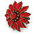 Red Leather Layered With Glass Bead Daisy Flower Wire Band Ring - Adjustable - 40mm D - view 6