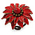 Red Leather Layered With Glass Bead Daisy Flower Wire Band Ring - Adjustable - 40mm D - view 7