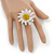 White/ Yellow Leather Layered Daisy Flower Ring - 40mm D - Adjustable - view 2
