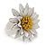 White/ Yellow Leather Layered Daisy Flower Ring - 40mm D - Adjustable - view 6