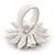 White/ Yellow Leather Layered Daisy Flower Ring - 40mm D - Adjustable - view 3