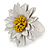 White/ Yellow Leather Layered Daisy Flower Ring - 40mm D - Adjustable - view 8