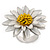 White/ Yellow Leather Layered Daisy Flower Ring - 40mm D - Adjustable - view 7