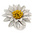 White/ Yellow Leather Layered Daisy Flower Ring - 40mm D - Adjustable - view 9