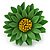 Grass Green/ Yellow Leather Layered Daisy Flower Ring - 40mm D - Adjustable - view 4