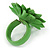 Grass Green/ Yellow Leather Layered Daisy Flower Ring - 40mm D - Adjustable - view 5