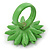 Grass Green/ Yellow Leather Layered Daisy Flower Ring - 40mm D - Adjustable - view 3