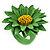Grass Green/ Yellow Leather Layered Daisy Flower Ring - 40mm D - Adjustable - view 8