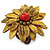 Antique Yellow Leather Layered With Glass Bead Daisy Flower Wire Band Ring - Adjustable - 40mm D - view 6