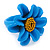Light Blue/ Yellow Leather Daisy Flower Ring - 35mm D - Adjustable - view 3