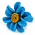 Light Blue/ Yellow Leather Daisy Flower Ring - 35mm D - Adjustable - view 5