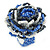 Blue/ White/ Black Glass Bead Flower Stretch Ring - 35mm